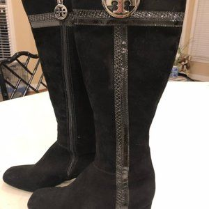 Tory Burch Black Suede and Snakeskin Boots